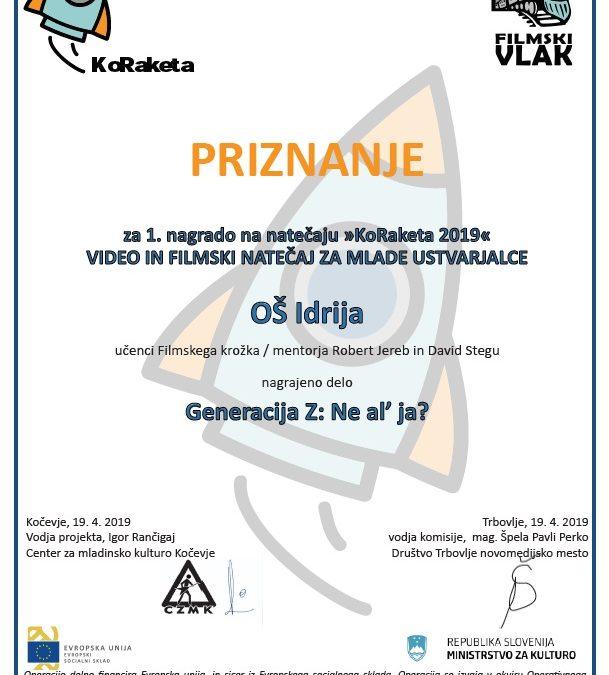 Film učenk in učencev prejel 1. nagrado na natečaju KoRaketa 2019